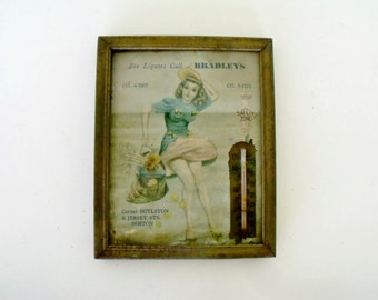 "5"" Advertising Thermometer Pinup Vintage 40s Bradley's Licquors Boston"