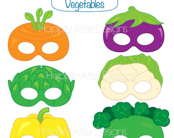 Vegetable Printable Masks, carrot mask, broccoli mask, artichoke, cauliflower, eggplant, veggie mask, vegetables, pepper, printable mask