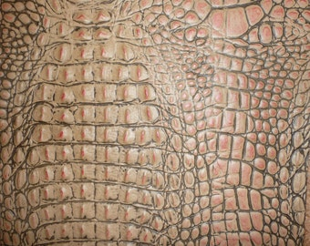 Leather 3 -6 sq ft ALLIGATOR Vintage Pink with Cream and Khaki Croc Embossed Cowhide 2.75-3 oz/1.1-1.2 mm PeggySueAlso™ E2860-01