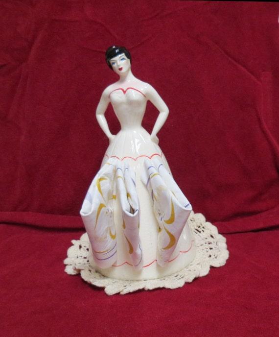 Vintage Napkin Doll Lady Napkin Holder Hand Painted Red White