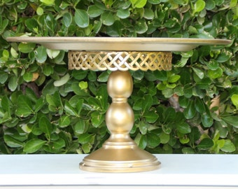 Gold Wedding Cake Stand Shabby Chic Vintage Reclaimed Serving Platter