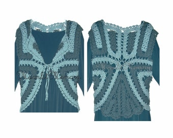 Teal Vest Hand Crocheted size M L Sweater Crochet Top Green Cap-Sleeves