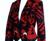 Vintage Aztec Tribal Print Winter Wool Blazer With Tassels Size S