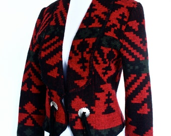 Vintage Aztec Tribal Print Winter Wool Blazer With Tassels Size S