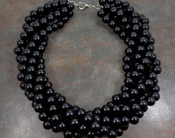 Statement Necklace, Big Black Necklace, Black Bead Necklace, Multistrand Necklace, Chunky, Twisted, Choker Necklace, Round Bead Necklace
