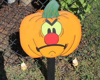 Angry Pumpkin  with Green Eyes Yard Sign / Decor / Art