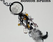 Boston Bruins Inspired Dream Catcher Car Charm Dazzler -Black, Gold and White - Skate, Hockey Sticks, Picture, Hockey Player and Play