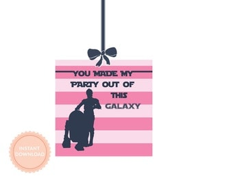 INSTANT DOWNLOAD Pink Star Wars Favor Tag (R2D2, C3PO, Princess Leia, Party Tag, Girls Star Wars Gift Tag, Return of the Jedi)