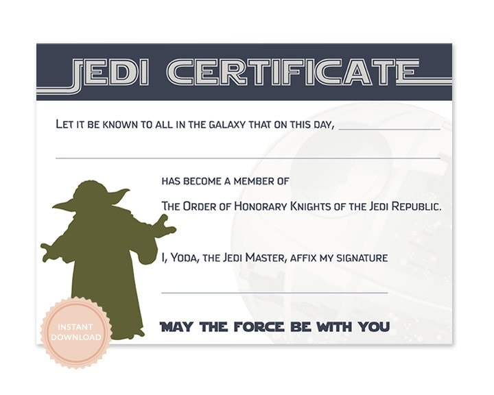 Instant download star wars jedi certificate yoda star wars for Star wars jedi certificate template free