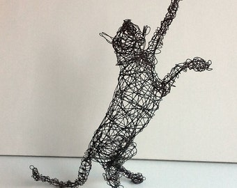 Large Wire Cat Sculpture - Cat Art - CAT and DRAGONFLY
