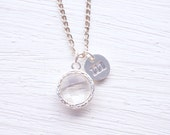 White Glass Charm Silver Initial Necklace