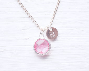 Pink Glass Charm Silver Initial Necklace
