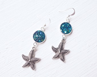Blue Glitter and Resin with Silver Starfish Earrings