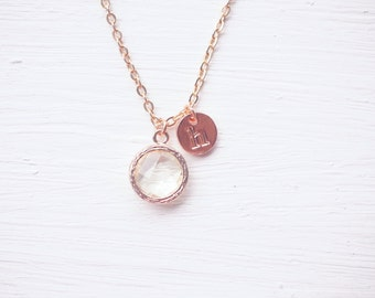 White Glass Charm Rose Gold Initial Necklace