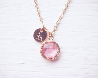 Pink Glass Charm Rose Gold Initial Necklace