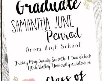 Modern Senior Graduation Announcement | Graduation Party Invitation | Customized digital file