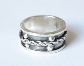 SALE Vintage Sterling Silver Modernist Mexico Band Rope Size 7.5