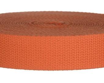 "5 Yards Cotton Webbing 1.25"" Orange - For Key Fobs, Handbags, Belts, Totes, Backpacks, Dog Collars, Dog Leads"