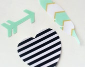 DIY Iron-on Appliques - 3 piece set - arrow, feather and heart