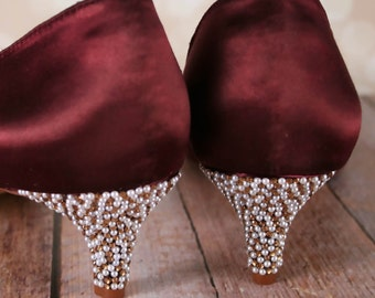 Crystal Wedding Shoes, Wine Wedding Shoes, Pearl Wedding Accessories, Gold Crystal Wedding, Kitten Heels, Peep Toes, Custom Wedding Shoes,