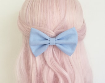 Light pastel blue hair bow on clip Rockabilly Pin Up