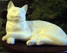 """Large, Realist, Lying Kitten, Dozing Cat, Vintage, Ceramic Cat, Short haired Cat, 12"""" long,Ready to paint, u-paint, Ceramic Bisque"""
