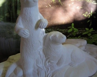 "7"" River Otters, Realistic, Detailed, Otter family, Seal, Detailed, Native, American Wildlife,Ready to paint,  u-paint, Ceramic bisque"