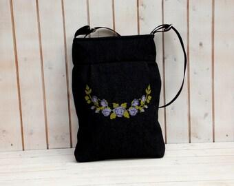 Purple rose needlepoint embroidered Bohemian tote jeans  crossbody, shoulder bag, folk embroidered bag, market tote bag, Hungarian folk