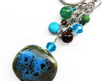 EARTHLY BEAUTY- Beaded Key-Chain- Agate Gemstone, Tiger's Eye and Magnetite Beads, Sparkling Crystals, and Porcelain Focal Bead