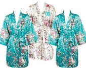 4 Monogrammed Floral Satin Robes, Bride and Bridesmaids Wedding Gift