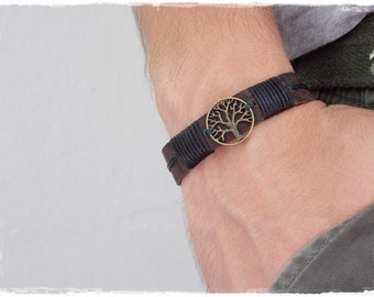 Men's Leather Bracelet, Tree Of Life Bracelet, Leather Celtic Bracelet, Viking Bracelet Cuff, Meditation Tree Of Life Leather Wristband