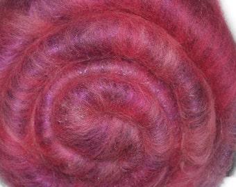Spinning fiber batt for spinning and felting - Drum carded mixed fiber batt - Raspberry Smoothie - 1.8 ounces