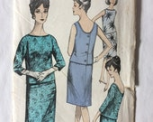 Maudella 5325 Misses Two Piece Dress Sewing Pattern Bust 38 Hips 40 Top Blouse Pencil Skirt Mod 1960s Vintage