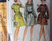 McCall's 9250 Misses Boho Elastic Neckline Dress Sewing Pattern Size 10 Bust 32.5 Blouse 1960s Ruffled Vintage