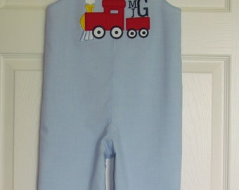 Baby BoyTrain Monogram Longall Shortall Romper First Birthday Take Me Home