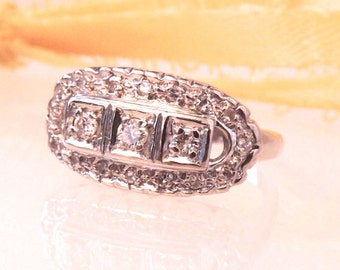 Vintage Art Deco Diamond Filigree Ring/14K/White Gold, Free Shipping