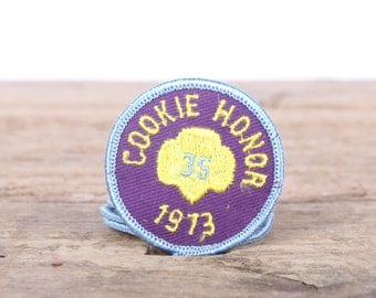 "Scout Patch / 1973 Cookie Honor Patch / 2"" Girl Scouts Patch / Vintage Patches / Grunge Patches / Punk Patches / Purple Yellow Patch"