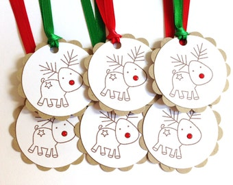 Christmas Gift Tags - Reindeer Tags - Rudolph Tags - Holiday Gift Tags - Present Tags - Christmas Hang Tags - Cute Christmas Wrapping