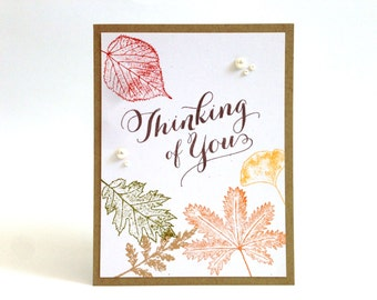 Fall Thinking of You Card - Autumn Card - Fall Leaves Card - Fall Hello Card - Just Because Card - I Miss You Card - Any Occasion Card