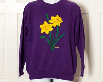 Vintage Purple 80s 90s Daffodil Sweatshirt