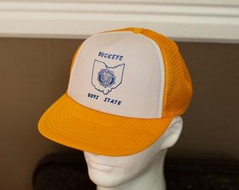 BUCKEYE BOYS STATE - Vintage Mesh Trucker Hat - yellow and white