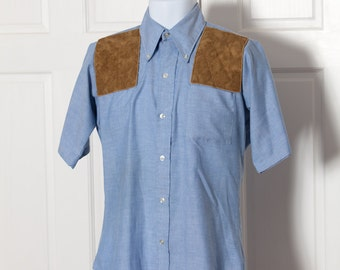 Vintage Abercrombie & Fitch Short Sleeve Button Down - country outdoorsy shoulder patches