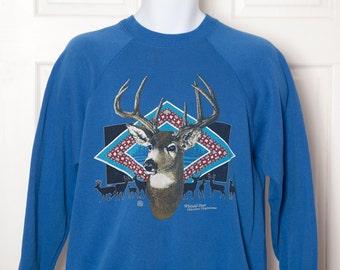 Vintage 80s 90s Whitetail Deer Sweatshirt - blue - M