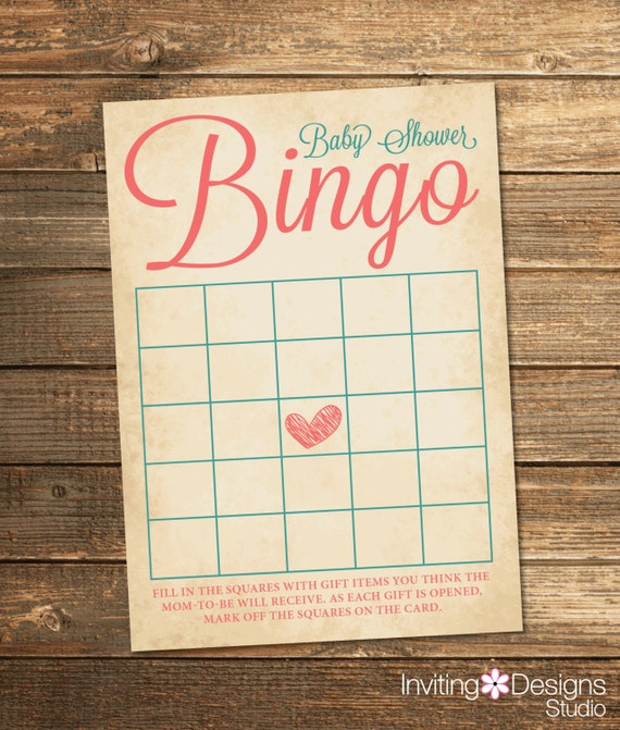 Baby Love Shower Bingo - Coral Teal
