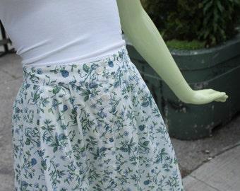 1990s Vintage Liberty Floral Print Midi Skirt with Pockets Medium