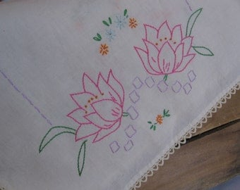 """Embroidered Table Runner, Pink Floral Vanity Scarf, Hand Stitched Linen, 17"""" x 29"""" Table Runner, Pink Purple Green Off-White MyVintageTable"""