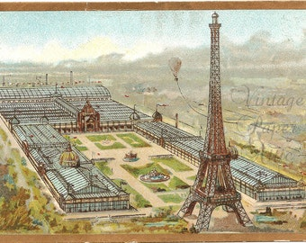 Eiffel Tower & Hot Air Balloon Antique French Chromolithograph Chromo Trade Card Paris Expo from Vintage Paper Attic