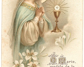 Virgin Mary with Gold Communion Chalice Antique French Goldprint Holy Prayer Card, Catholic Gift, Chromolithograph, Devotional Ephemera