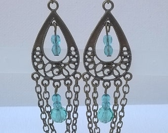 Chandelier Earrings with Antiqued Metal and Chain - Long Aqua Blue Glass Bead Earrings for Pierced Ears