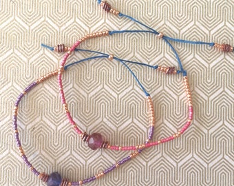 Pink and Purple Beaded Friendship Bracelets